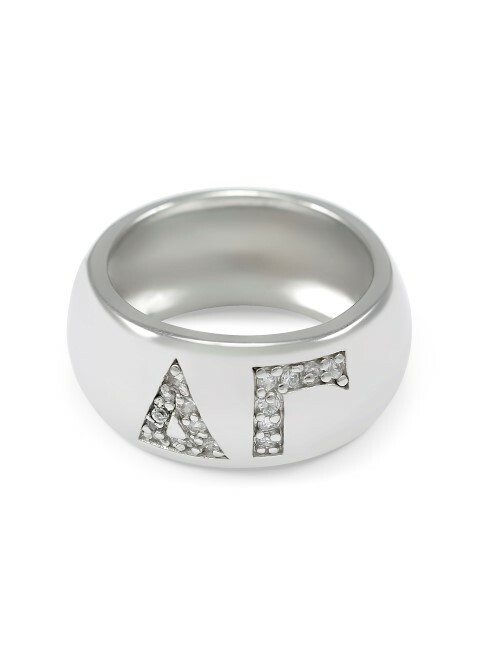 Delta Gamma Sterling Silver Ring with Pave Cubic Zirconia Greek Letters