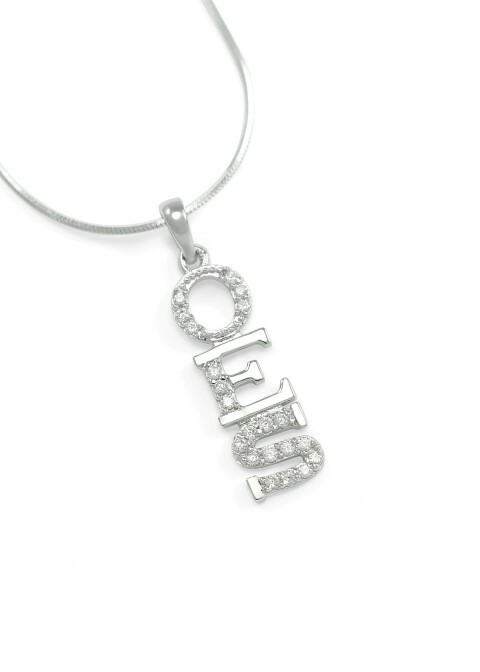 OES Sterling Silver Lavaliere set with Lab-Created Diamonds