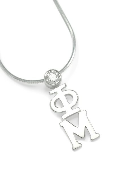 Phi Mu Sterling Silver Lavaliere Pendant with Swarovski Clear Crystal