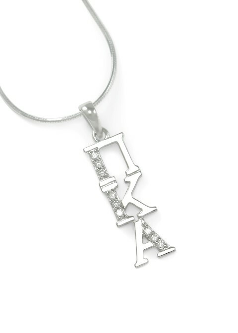 Pi Kappa Alpha Sterling Silver Lavaliere set with Lab-Created Diamonds