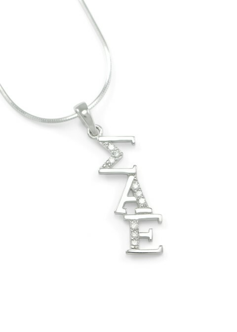 Sigma Alpha Epsilon Sterling Silver Diagonal Lavaliere set with Lab-Created Diamonds