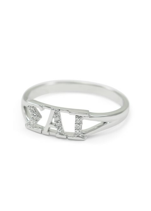Sigma Alpha Iota Sterling Silver Ring set with Lab-Created Diamonds