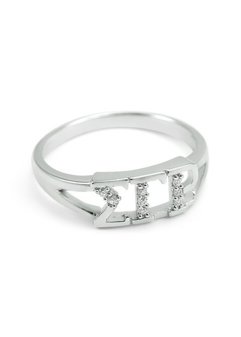 Sigma Gamma Rho Sterling Silver Ring set with Lab-Created Diamonds