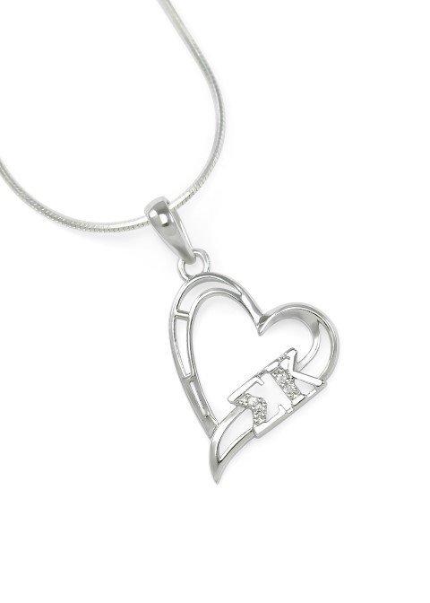 Sigma Kappa Sterling Silver Heart Pendant set with Lab-Created Diamonds