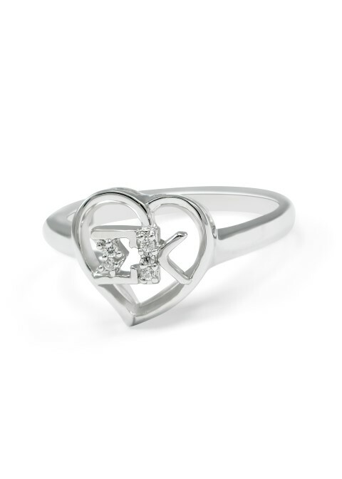 Sigma Kappa Sterling Silver Heart Ring set with Lab-Created Diamonds