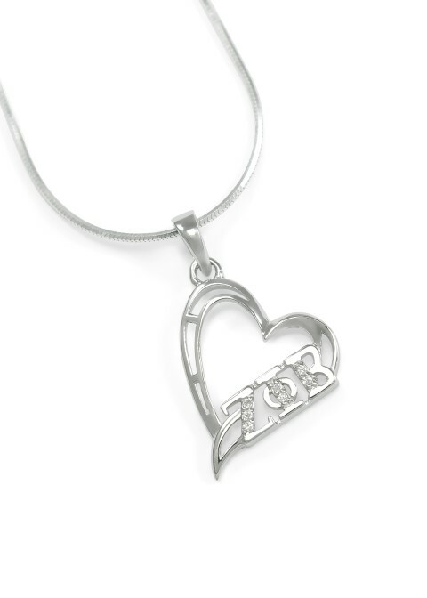 Zeta Phi Beta Sterling Silver Heart Pendant set with Lab-created Diamonds