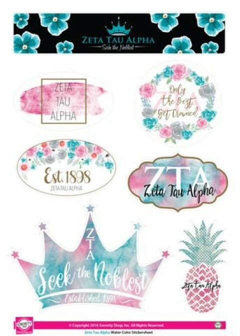 Zeta Tau Alpha Water Color Stickers