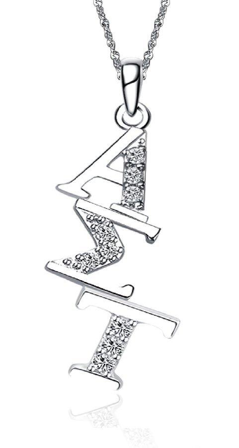 Alpha Sigma Tau Sterling Silver Diagonal Lavaliere set with Lab-Created Diamonds