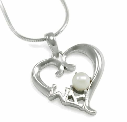 Sigma Kappa Sterling Silver Heart pendant with Pearl