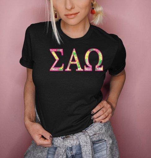 Sigma Alpha Omega Flower Garden Lettered Short Sleeve T-Shirt
