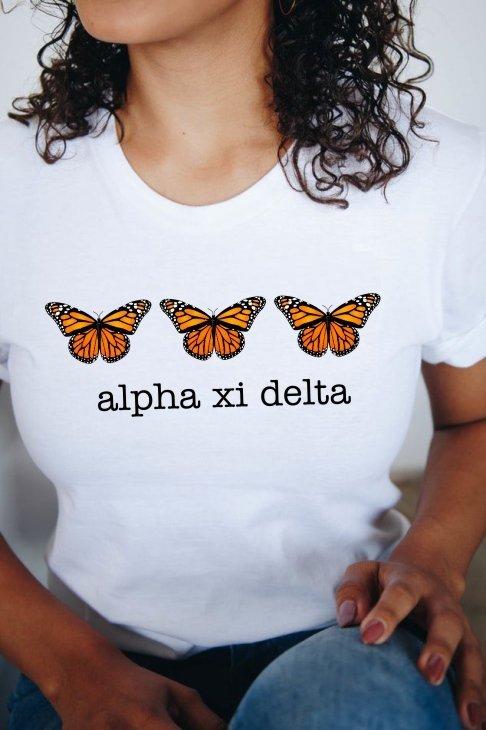 Alpha Xi Delta Monarch Butterfly Short Sleeve T-Shirt - Comfort Colors