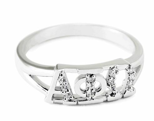 Alpha Phi Omega Sterling Silver Ring set with Lab-Created Diamonds