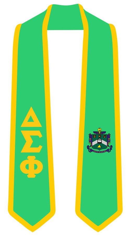 DISCOUNT-Delta Sigma Phi Greek 2 Tone Lettered Graduation Sash Stole