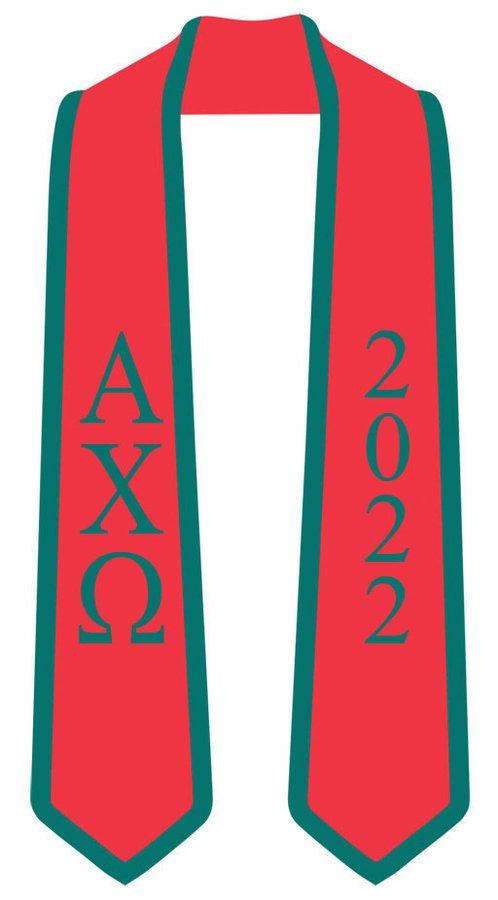 DISCOUNT-Alpha Chi Omega Greek 2 Tone Lettered Graduation Sash Stole w/ Year