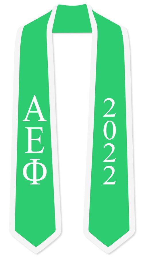 DISCOUNT-Alpha Epsilon Phi Greek 2 Tone Lettered Graduation Sash Stole w/ Year