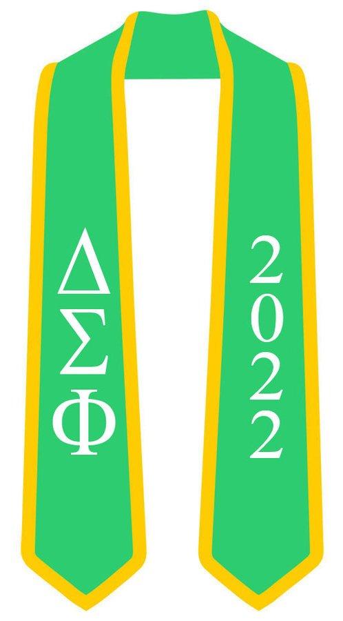 DISCOUNT-Delta Sigma Phi Greek 2 Tone Lettered Graduation Sash Stole w/ Year