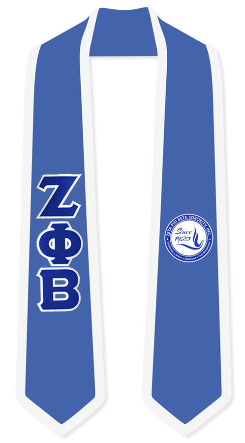 DISCOUNT-Zeta Phi Beta Greek 2 Tone Lettered Graduation Sash Stole