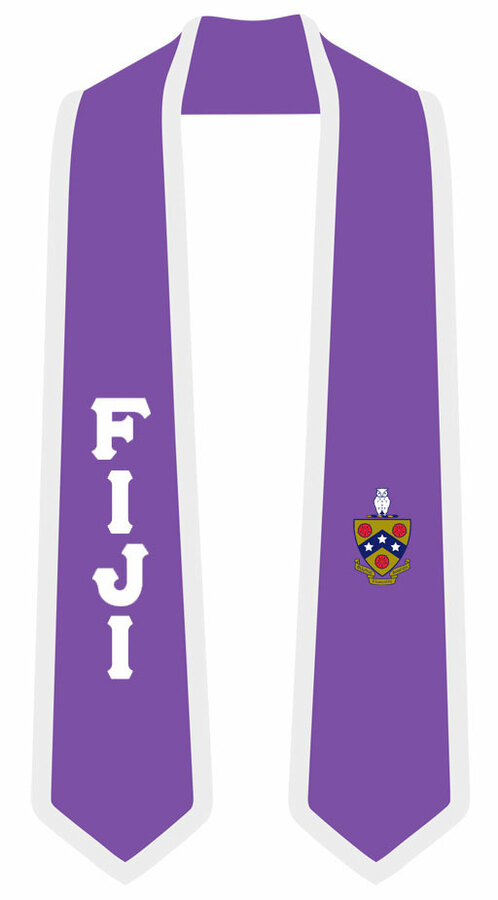 DISCOUNT-FIJI Greek 2 Tone Lettered Graduation Sash Stole