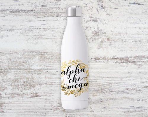 Alpha Chi Omega Gold Wreath Steel Water Bottle