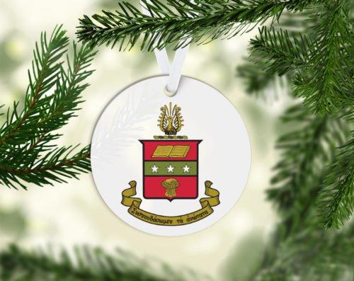 Alpha Chi Omega Round Acrylic Crest - Shield Ornament
