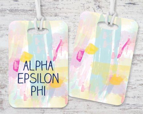 Alpha Epsilon Phi Pastel Strokes Luggage Tag