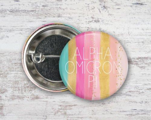 Alpha Omicron Pi Bright Stripes Button