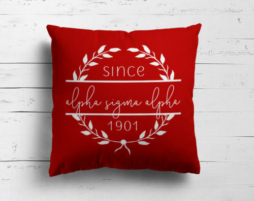 Alpha Sigma Alpha Since Established Pillow