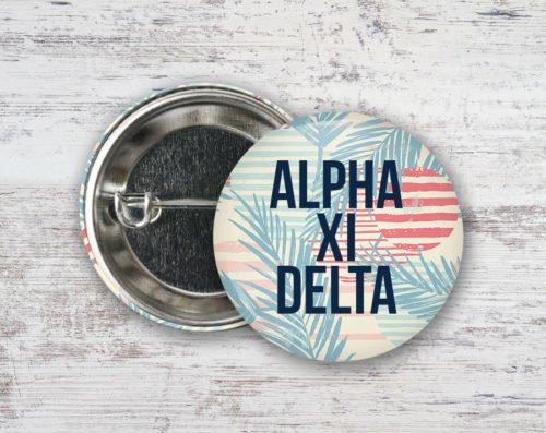 Alpha Xi Delta Paradise Found Button