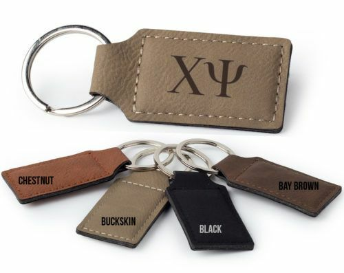 Chi Psi Letters Faux Leather Keychain