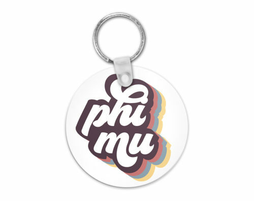Phi Mu Retro Script Keychain