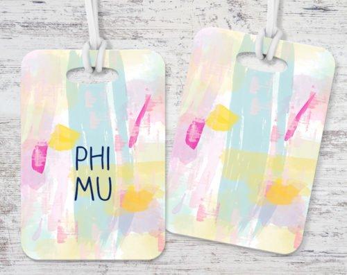 Phi Mu Pastel Strokes Luggage Tag