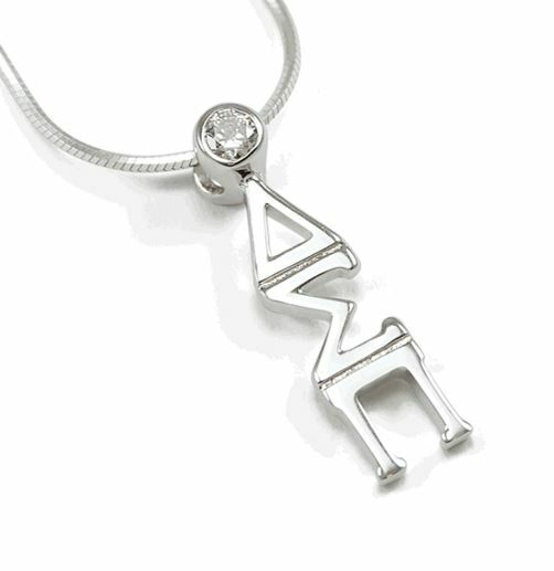 Delta Sigma Pi Sterling Silver Lavaliere Pendant with Swarovski Clear Crystal