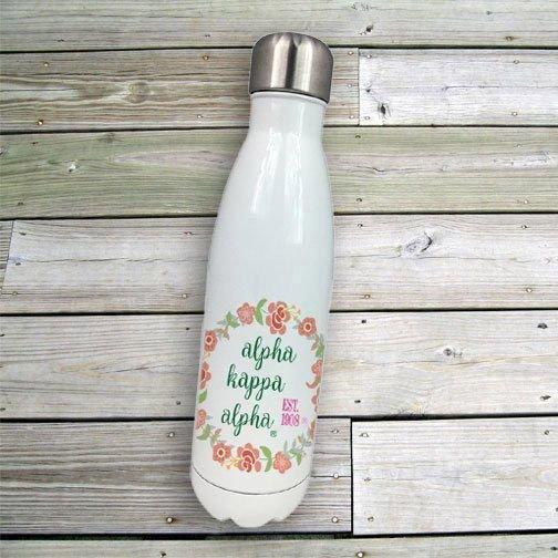Alpha Kappa Alpha Floral Wreath Stainless Steel Water Bottle