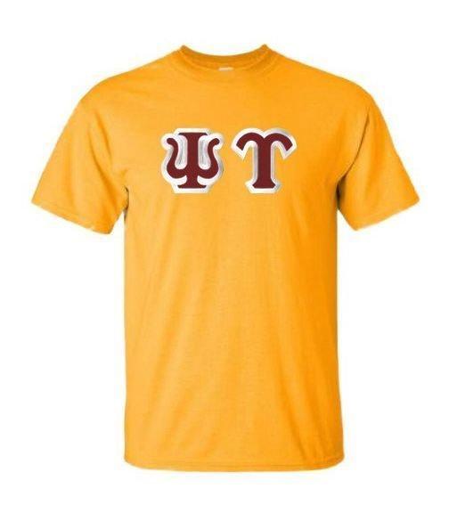 Psi Upsilon Greek Sewn Lettered Shirts