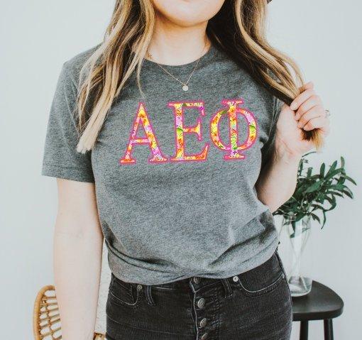 Alpha Epsilon Phi Bright Flowers Lettered Short Sleeve T-Shirt