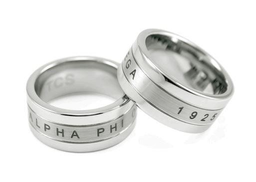 Alpha Phi Omega Tungsten Ring