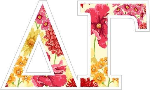 """Delta Gamma Floral Greek Letter Sticker - 2.5"""" Tall"""