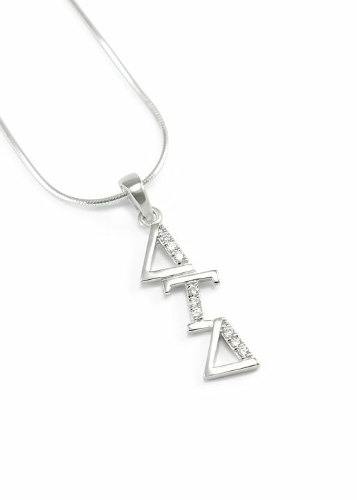 Delta Tau Delta Sterling Silver Lavaliere set with Lab-Created Diamonds
