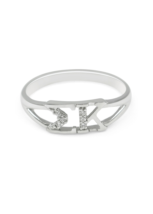 Sigma Kappa Sterling Silver Ring set with Lab-Created Diamonds