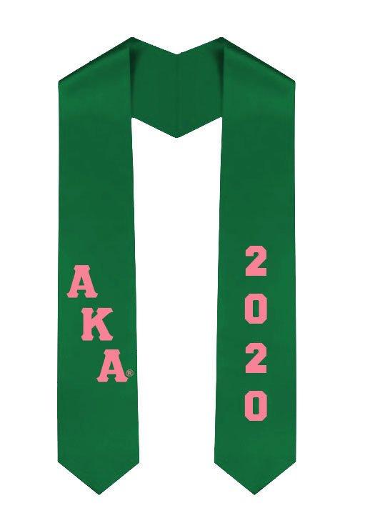 Alpha Kappa Alpha Greek Diagonal Lettered Graduation Sash Stole With Year