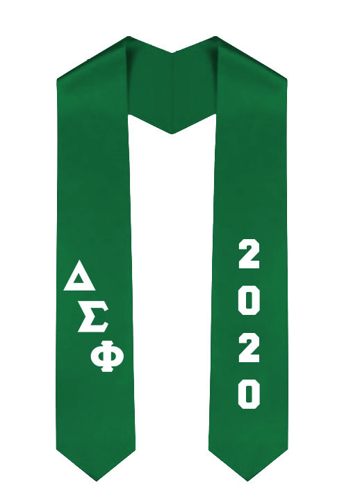 Delta Sigma Phi Greek Diagonal Lettered Graduation Sash Stole With Year
