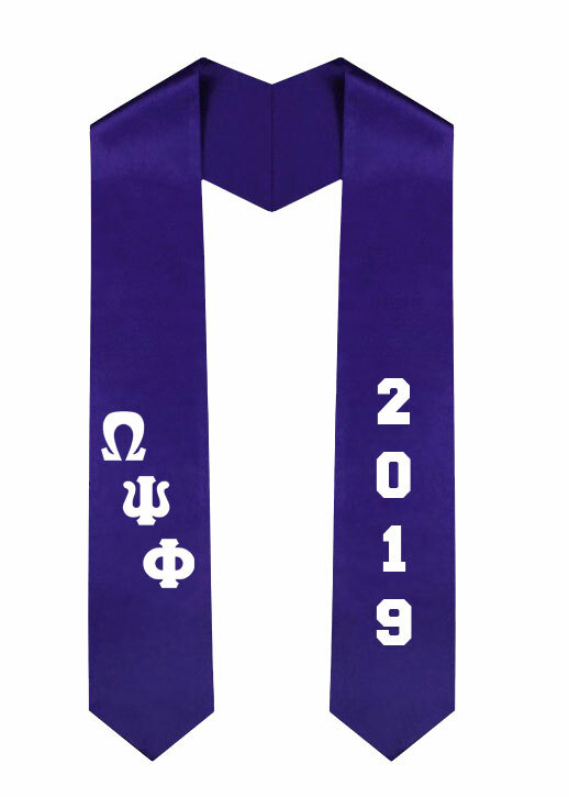 Omega Psi Phi Greek Diagonal Lettered Graduation Sash Stole With Year
