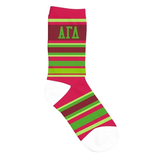 Alpha Gamma Delta Striped Crew Socks
