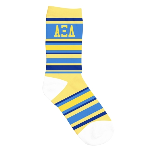 Alpha Xi Delta Striped Crew Socks