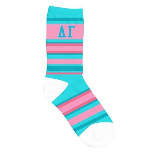 Delta Gamma Striped Crew Socks