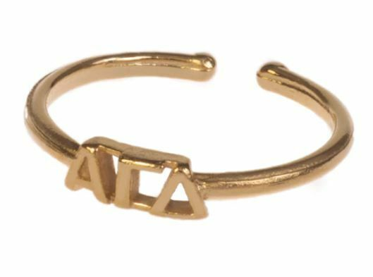 Alpha Gamma Delta Adjustable Letter Ring