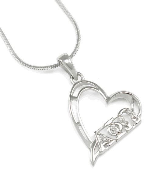Alpha Phi Omega Sterling Silver Heart Pendant