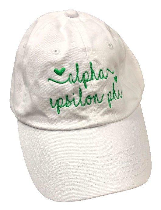 Alpha Epsilon Phi Script Hearts Ball Cap
