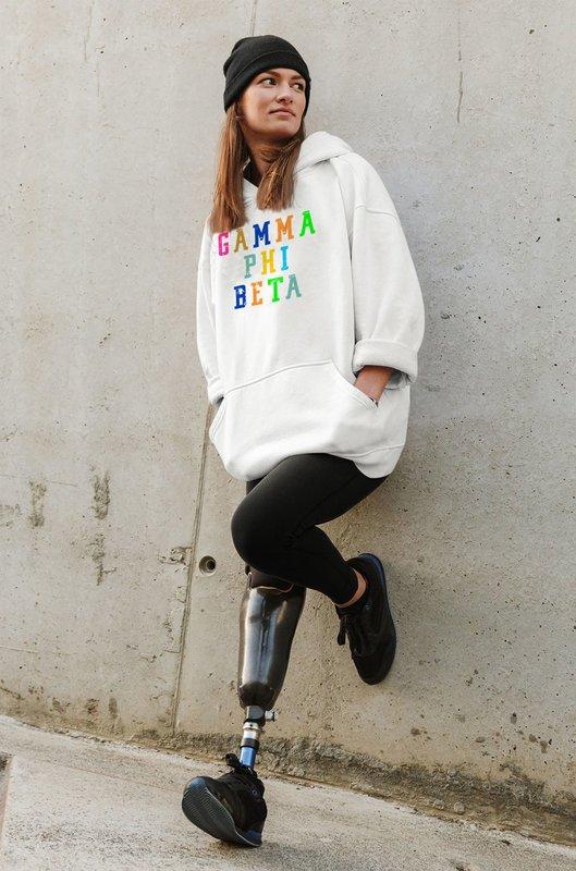 Gamma Phi Beta Vintage Rainbow Hoodie