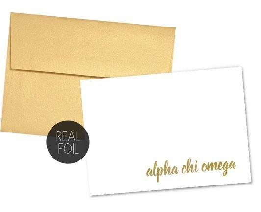 Alpha Chi Omega Foil Script Notecards(6)